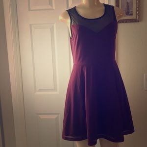 DIVIDED by H&M :|Sheer Top Cami Dress.MAROON.SMALL